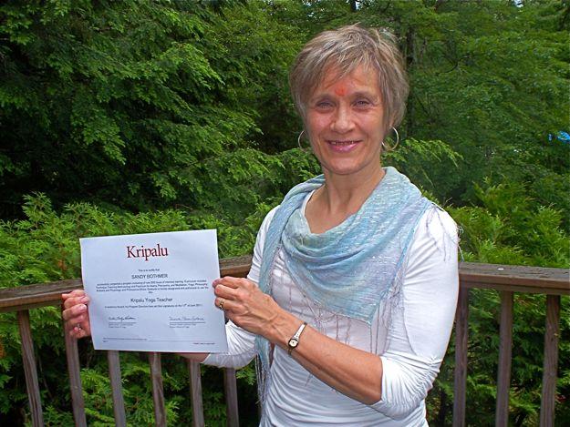 Sandy with Kripalu yoga teacher certificate.