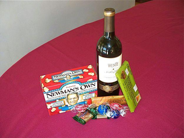 Wine, Chocolate and popcorn