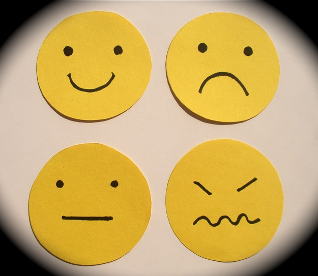 Students use feeling faces to indicate how they are feeling.